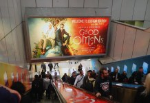 photograph of Good Omens advertisement on escalator