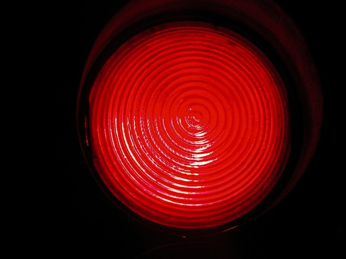 close-up photograph of red signal light