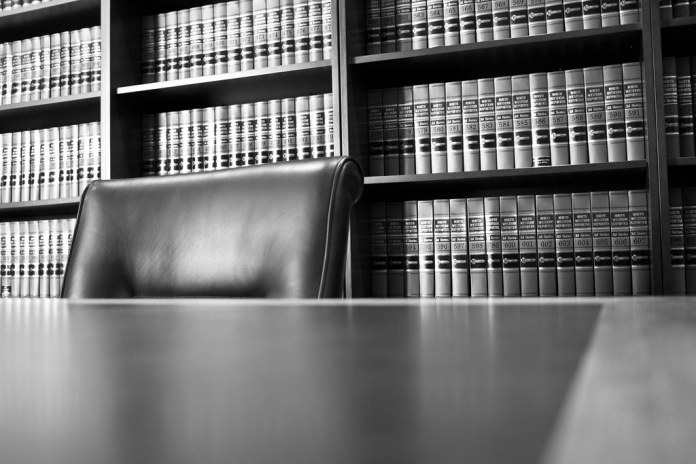 black and white photograph of judges' library