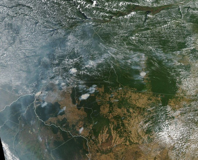 satellite image of amazon fires