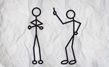 Image of two human stick-figures arguing