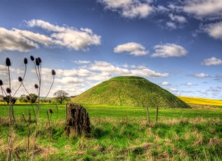 image of burial mound in field
