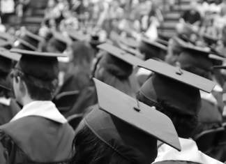 black and white photograph of graduation