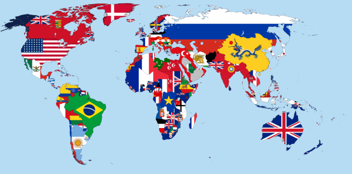 image of world map with flags indiciating national boundaries