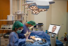 photograph of surgery performed with help of teleprescence robot