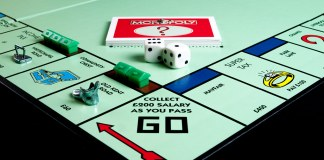 photograph of Monopoly game board