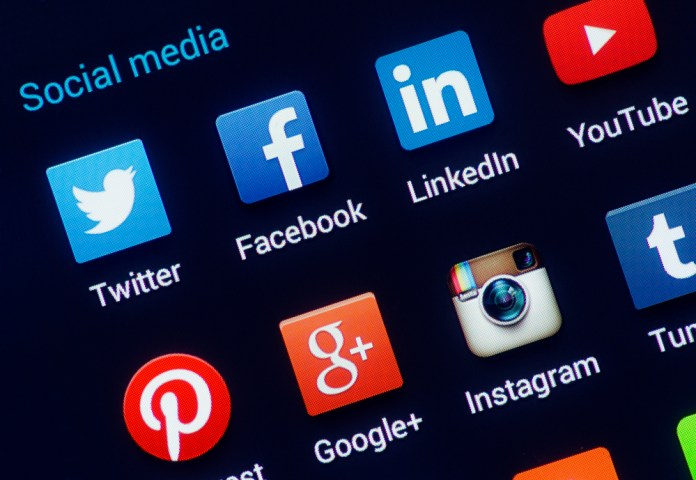 image of screen with social media app icons displayed