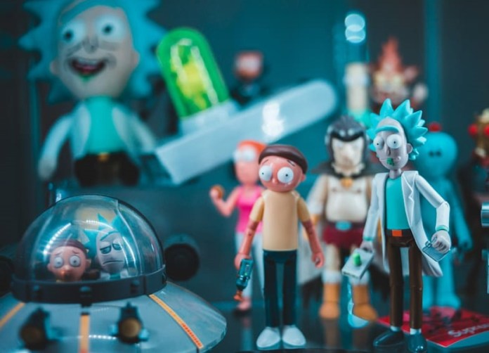 photograph of several rick and morty action figures