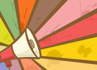 image of megaphone amplifying certains rays from an array of color bands