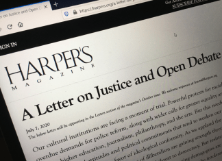 photograph of computer screen displaying Harper's Letter