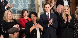 photograph of Alice Johnson being granted clemency at State of the Union in 2018
