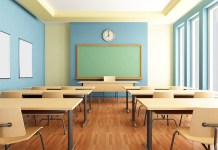 photograph of bright empty classroom