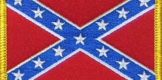 photograph of a patch of the confederate flag