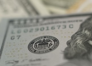 close-up photograph of bank seal on banknote