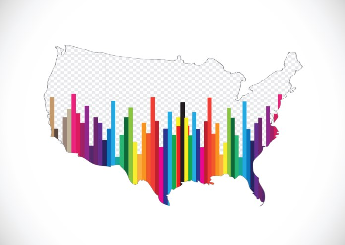 image of map of US displayed as multi-colored bar graph