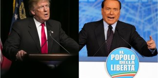 two photographs: 1 of Donald Trump and the other of Silvio Berlusconi speaking at podiums