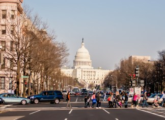 photograph of downtown Washington D.C. with Capitol building in background
