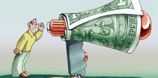 cartoon image of man speaking into megaphone made of money
