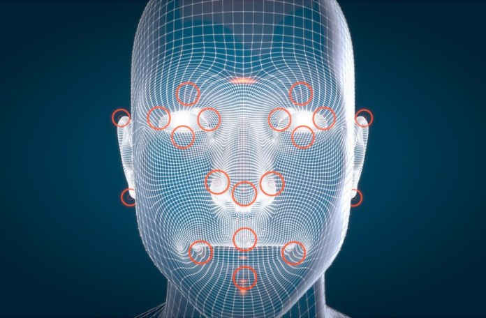 3d image of human face with severalpoints of interest circled