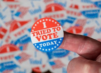 """photograph of an """"I tried to vote today"""" sticker"""