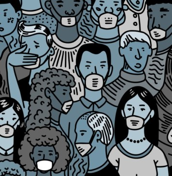 illustration of cartoon crowd with most wearing masks