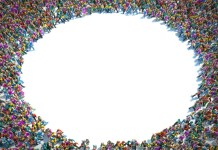image of crowd with empty circle in the middle