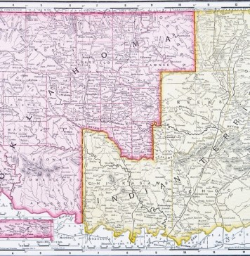 "image of old Oklahoma map designating ""Indian Territory"""