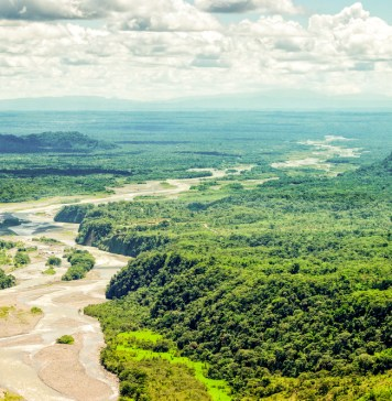 aerial photograph of Pastaza River Basin in South America