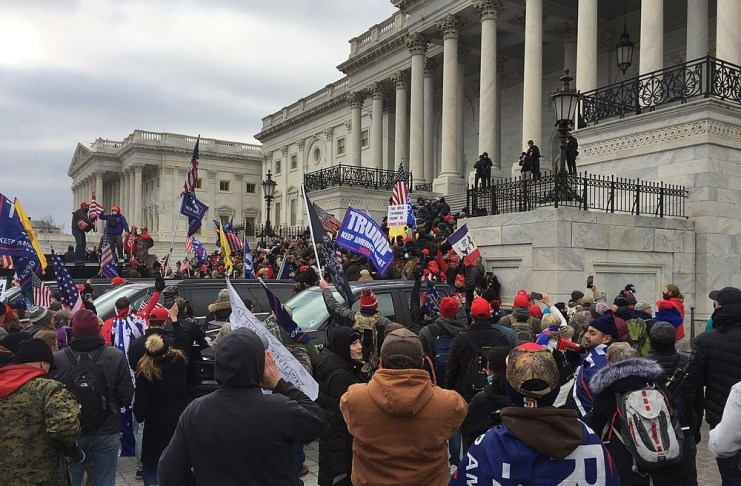 photograph of rioters in front of Capitol