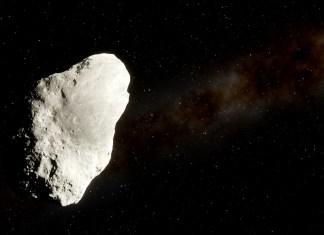 image of asteroid in deep space