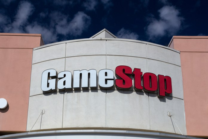 photograph of GameStop store exterior sign