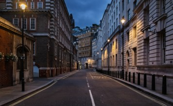 photograph of empty London street at night