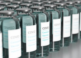 photograph of covid vaccination ampoules