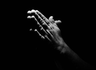 black and white photograph of pray hands