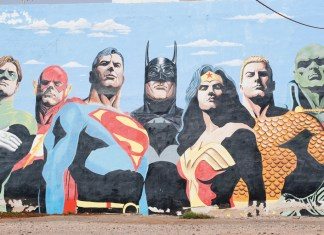 photograph of mural of DC superheroes