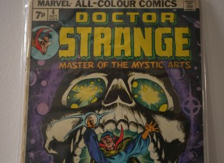 photograph of Doctor Strange comic book cover