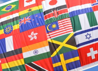 photograph of a patchwork ofnational flags sewn together