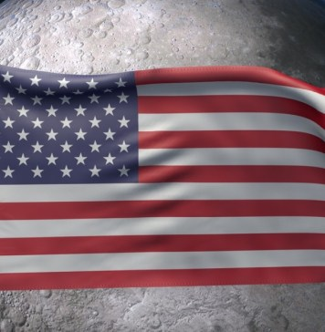 image of American flag superimposed over the moon