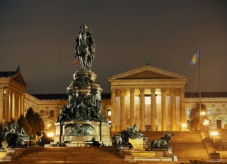 photograph of statues in front of Philadelphia Art Museum