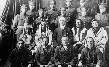 black-and-white photograph of Native American soldiers in the Canadian Expeditionary Force