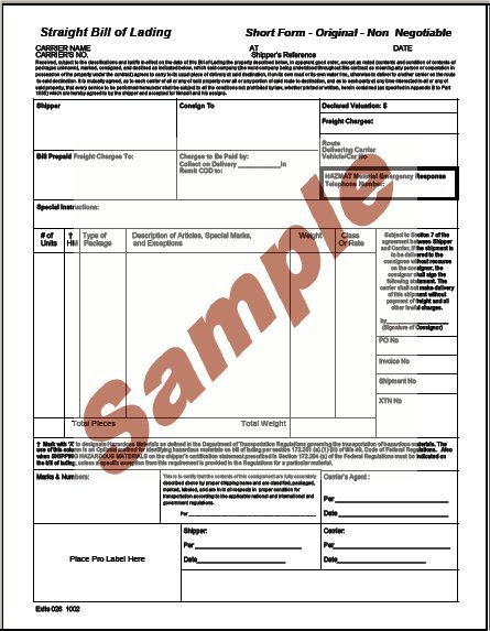pdf bill of lading