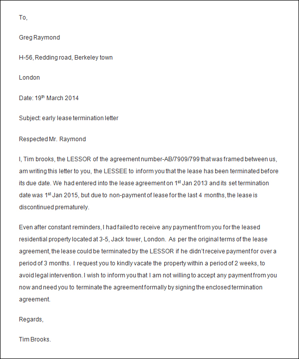 Lease Cancellation Letter | Docoments Ojazlink