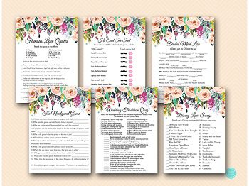 Printable Bridal Shower Games Bachelorette Hens Party