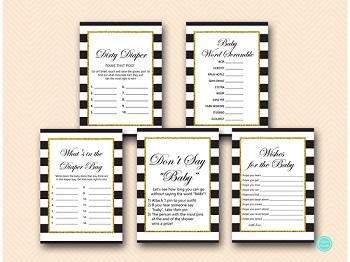 black stripes gold baby shower game package printable download tlc442 35