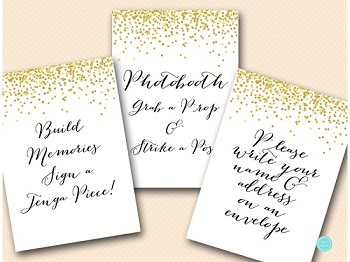 gold confetti bridal shower signs