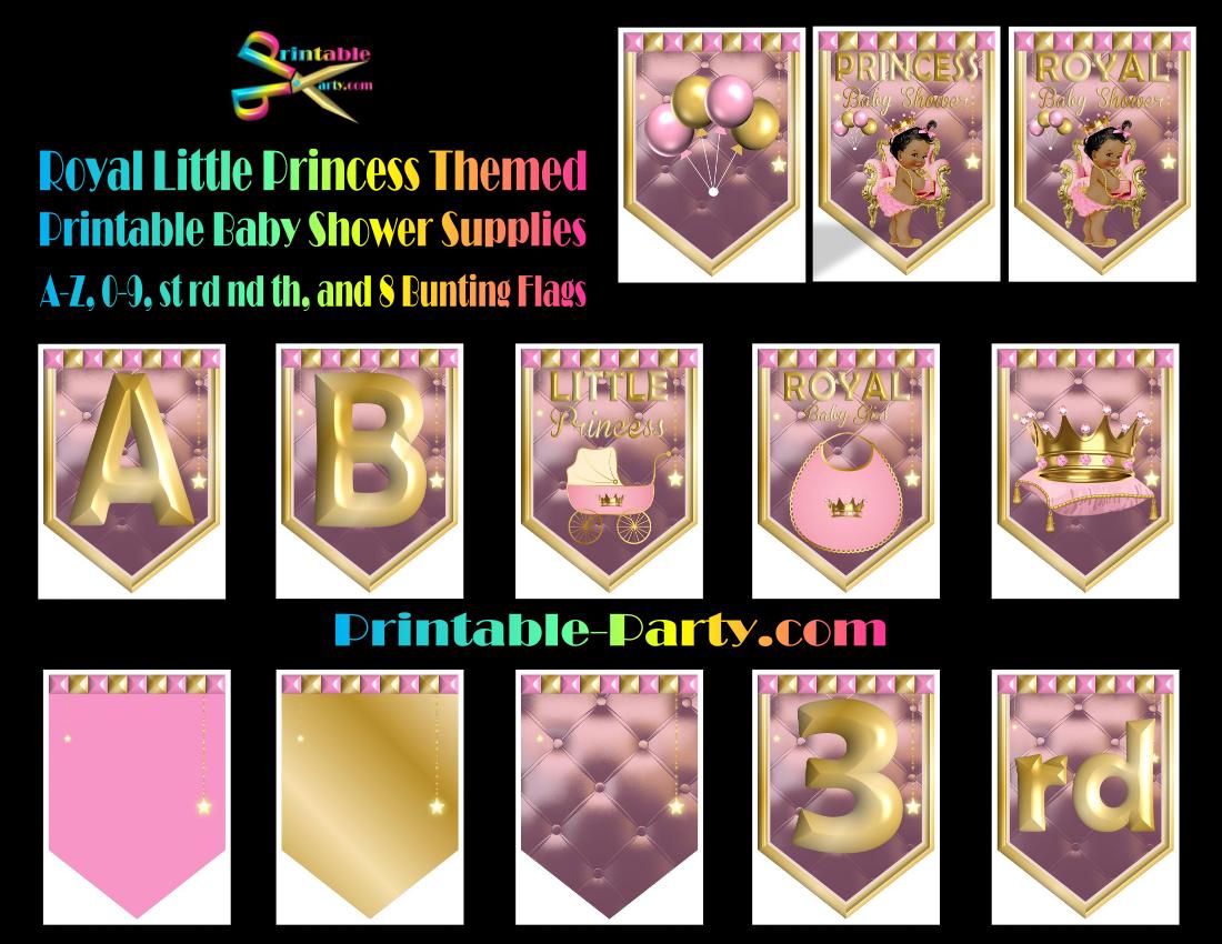 Printable Royal Princess Baby Shower Supplies Pink Amp Gold