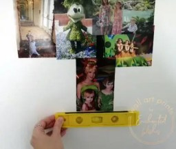 Measuring each Disney photo to make sure they're level