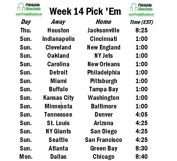 graphic about Nfl Week 14 Printable Schedule identify Weekly Soccer Options Template. working day 7 days calendar template