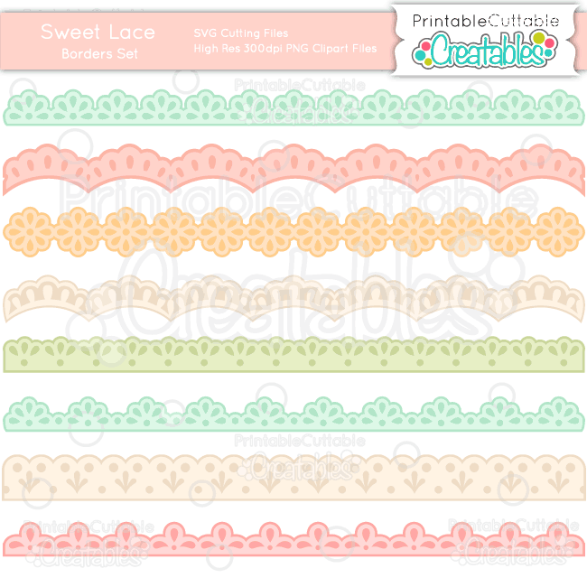 Download Sweet Lace Borders SVG Cut File & Clipart Set for ...