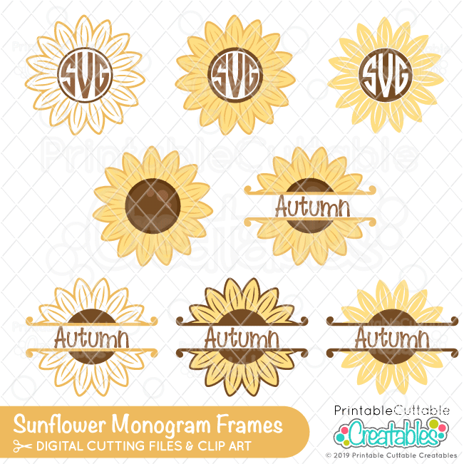 Download Sunflower Monogram Frames Free SVG Files for Cricut ...